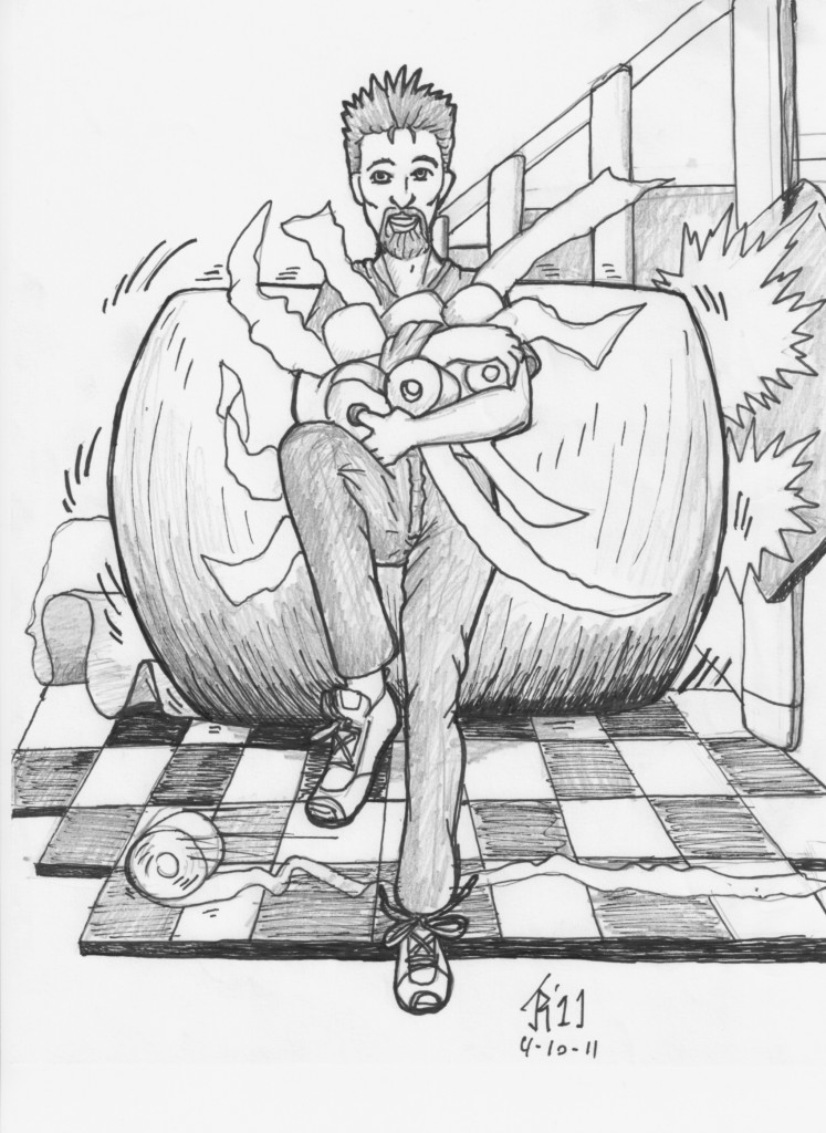 "Artist Nikki Stack's translation of a film still of Paul J. Alessi from ""A Guy Named Murphy""."